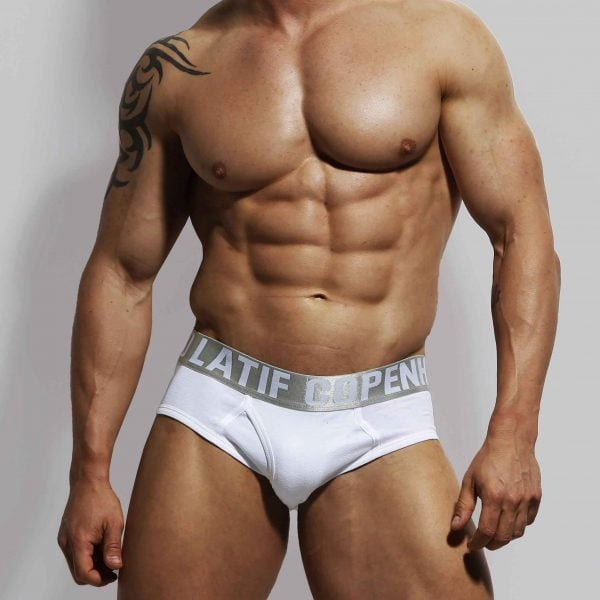 ZLC white brief by danish designer, Zahid Latif.