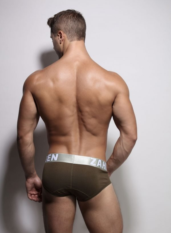 Army brief underwear recycled elastic back-close-up Danish Design by ZLCOPENHAGEN