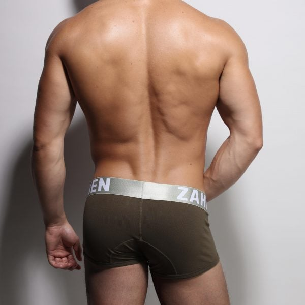 Army trunks by ZLC. Aurelien shows his back.