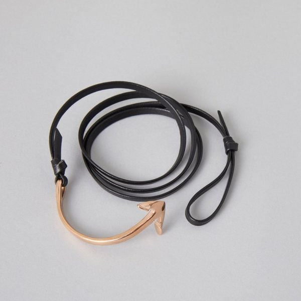 Black Leather Rosa Gold Anchor, made from supple black leather with Rosa Gold plated ZLC Anchor rounding off the nautical theme.
