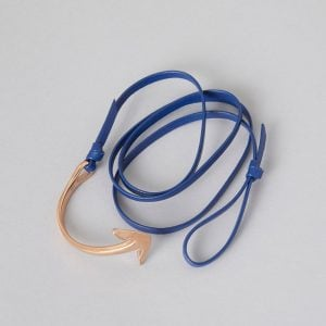 Blue Leather Rosa Gold Anchor, made from supple leather with Rosa Gold plated ZLC Anchor rounding off the nautical theme.