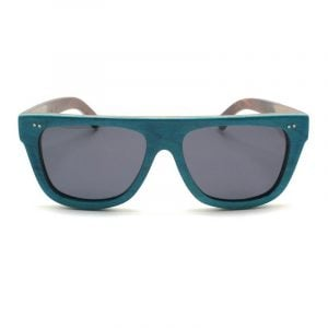 green flat bamboo sunglasses