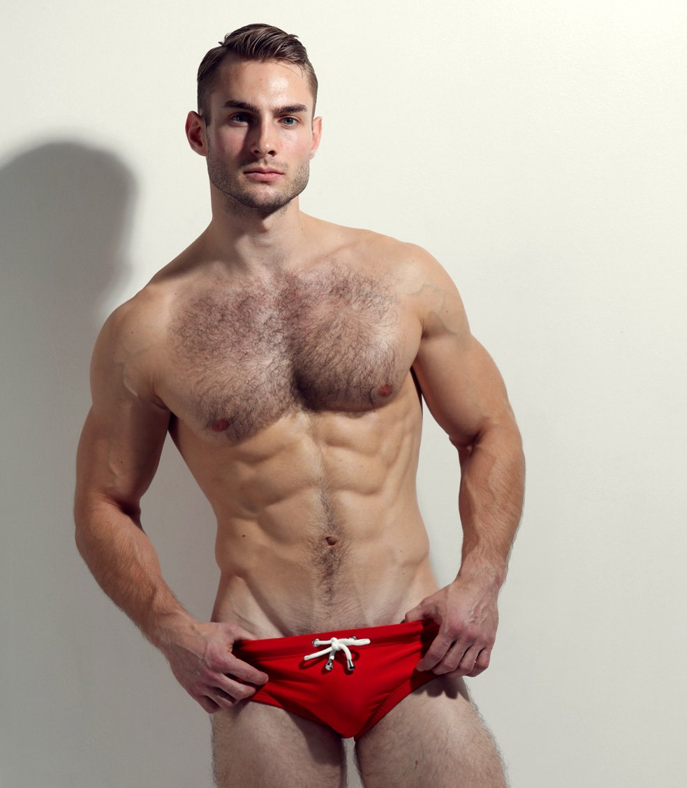 Ulirk is wearing our red swimwear