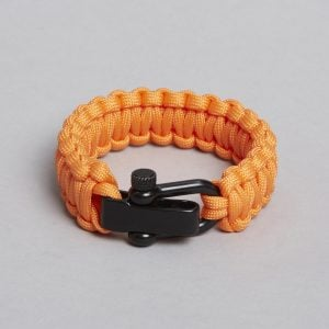 Orange black paracord bracelet.