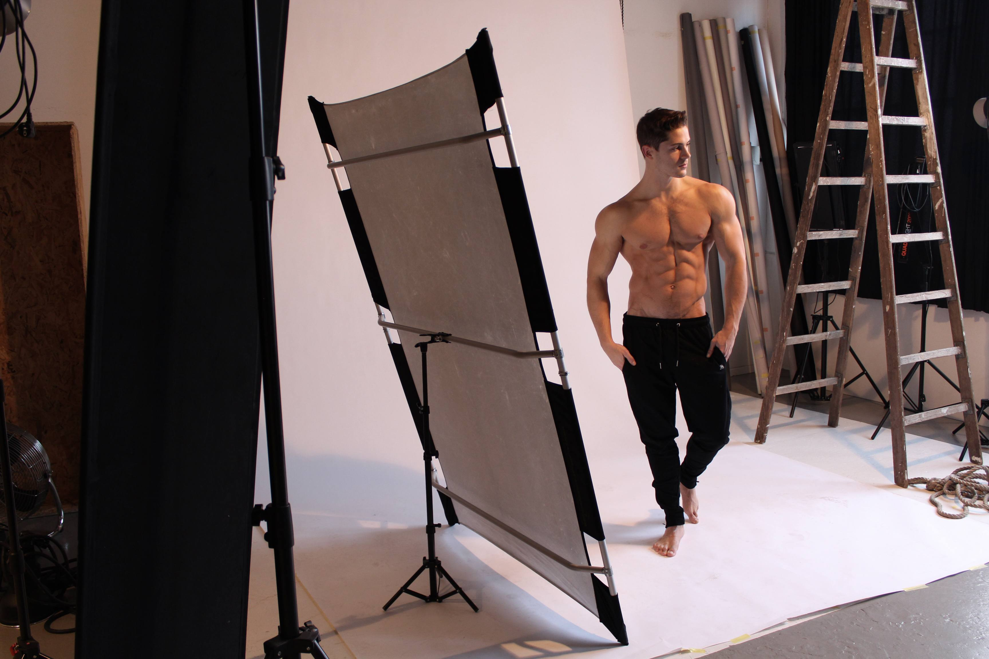 Gym pants by ZLC, worn by Aurelien.