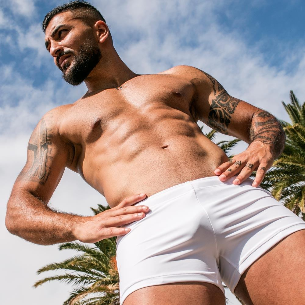 zlc white posing hot pants close up